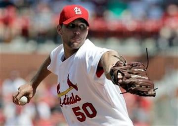 St. Louis Cardinals starting pitcher Adam Wainwright throws during the first inning of a baseball game against the Los Angeles Dodgers Saturday, July 17, 2010, in St. Louis. (AP Photo/Jeff Roberson) By Jeff Roberson