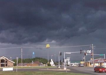 Dark clouds linger over Salem, Mo., Sunday morning. Submitted by user autumnkissss via YouNews. By KMOV Web Producer