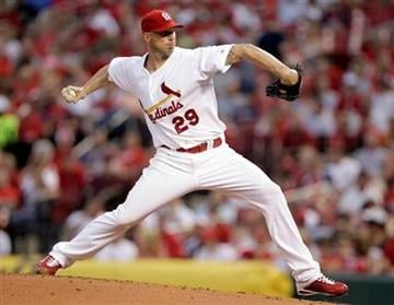St. Louis Cardinals starting pitcher Chris Carpenter throws during the second inning of a baseball game against the Philadelphia Phillies on Tuesday, July 20, 2010, in St. Louis. (AP Photo/Jeff Roberson) By Jeff Roberson