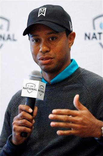 Golfer Tiger Woods answers a question during a news conference at Aronimink Golf Club, Monday, May 10, 2010, in Newtown Square, Pa. (AP Photo/Matt Slocum) By Matt Slocum