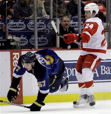 Detroit Red Wings' Brad May (24) checks St. Louis Blues' David Perron (57) to the ice in the first period of an NHL hockey game in Detroit, Wednesday, Dec. 9, 2009. (AP Photo/Paul Sancya) By Paul Sancya