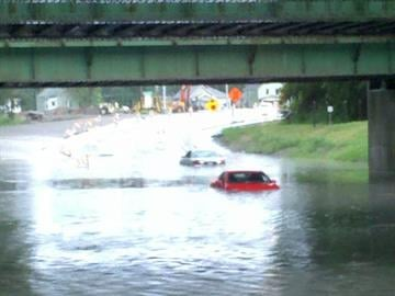 News 4's Russell Kinsaul reported flooded roads in East St. Louis on Highway 3 near the McKinley bridge. By KMOV Web Producer