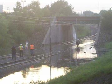 Flooded Metrolink tracks in East St. Louis under Interstate 64 By KMOV Web Producer