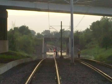 Flooded Metrolink tracks in East St. Louis under Interstate 64 By KMOV Web Producer