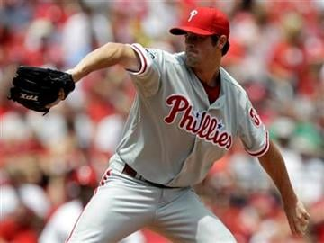 Philadelphia Phillies starting pitcher Cole Hamels throws during the first inning of a baseball game against the St. Louis Cardinals, Thursday, July 22, 2010, in St. Louis. (AP Photo/Jeff Roberson) By Jeff Roberson