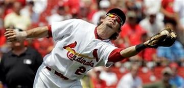 St. Louis Cardinals third baseman Tyler Greene catches a pop up from Philadelphia Phillies' Shane Victorino during the first inning of a baseball game, Thursday, July 22, 2010, in St. Louis. (AP Photo/Jeff Roberson) By Jeff Roberson