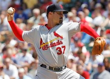 St. Louis Cardinals starter Jeff Suppan delivers a pitch against the Chicago Cubs during the second inning of a baseball game, Friday, July 23, 2010, in Chicago.(AP Photo/Nam Y. Huh) By Nam Y. Huh