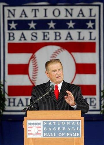 Whitey Herzog delivers his Baseball Hall of Fame induction speech at the Clark Sports Center in Cooperstown, N.Y., on Sunday, July 25, 2010. (AP Photo/Mike Groll) By Mike Groll