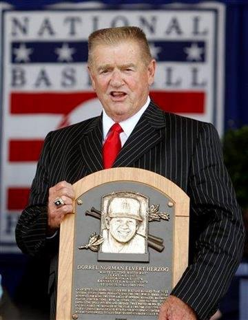 Whitey Herzog poses with his plaque after induction to the Baseball Hall of Fame in Cooperstown, N.Y., on Sunday, July 25, 2010. (AP Photo/Mike Groll) By Mike Groll