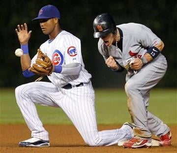 St. Louis Cardinals' Brendan Ryan, right, reacts after being tagged out by Chicago Cubs shortstop Starlin Castro on an attempted steal during the seventh inning of a baseball game Sunday, July 25, 2010, in Chicago. (AP Photo/Nam Y. Huh) By Nam Y. Huh