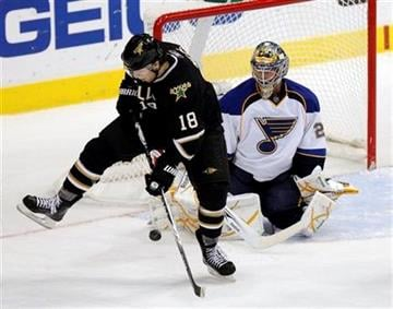 Dallas Stars left wing James Neal (18) tries to tip the puck past St. Louis Blues goalie Ty Conklin (29) in the third period of an NHL hockey game Wednesday Nov. 25, 2009, in Dallas. (AP Photo/Brandon Wade) By Brandon Wade