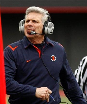 Illinois head coach Ron Zook reacts in the second quarter against Cincinnati in an NCAA college football game, Friday, Nov. 27, 2009, in Cincinnati. Cincinnati won 49-36. (AP Photo/David Kohl) By David Kohl
