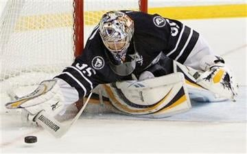 Nashville Predators goalie Pekka Rinne, of Finland, blocks a shot from the St. Louis Blues in the second period of an NHL hockey game on Friday, Nov. 27, 2009, in Nashville, Tenn. (AP Photo/Mark Humphrey) By Mark Humphrey