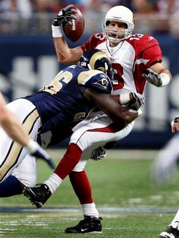Arizona Cardinals quarterback Kurt Warner, right, is sacked for a seven-yard loss by St. Louis Rams defensive end James Hall during the first quarter of an NFL football game Sunday, Nov. 22, 2009, in St. Louis. (AP Photo/Tom Gannam) By Tom Gannam