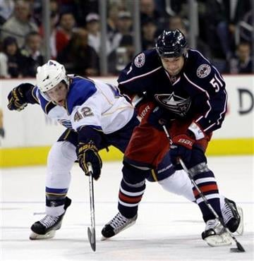 Columbus Blue Jackets' Fedor Tyutin, right, of Russia, carries the puck up ice as St. Louis Blues' David Backes defends during the second period of an NHL hockey game Monday, Nov. 30, 2009, in Columbus, Ohio. (AP Photo/Jay LaPrete) By Jay LaPrete