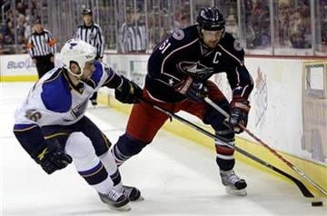 Columbus Blue Jackets' Rick Nash, right, controls the puck as St. Louis Blues' Roman Polak, of the Czech Republic, defends during the second period of an NHL hockey game Monday, Nov. 30, 2009, in Columbus, Ohio. (AP Photo/Jay LaPrete) By Jay LaPrete