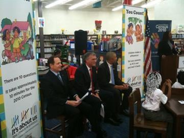St. Louis Mayor Francis Slay, U.S. Census Director Robert Groves, Rep. Wm. Lacy Clay at Gateway Math & Science Elementary School. They are kicking off the Census in the Schools program for Missouri. By Afton Spriggs