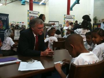 Census Bureau Director Robert Groves talking to students at Gateway Math & Science Elementary School By Afton Spriggs