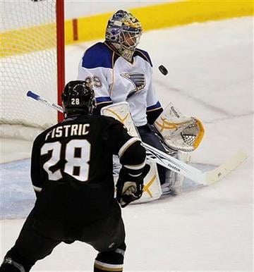 Dallas Stars defenseman Mark Fistric (28) looks for a rebound off of St. Louis Blues goalie Ty Conklin (29) in the first period of an NHL hockey game Wednesday, Nov. 25, 2009, in Dallas. (AP Photo/Brandon Wade) By Brandon Wade