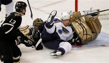 St. Louis Blues left wing Brad Winchester crashes into Dallas Stars goalie Marty Turco on an attempted shot in the first period of an NHL hockey game Wednesday, Nov. 25, 2009, in Dallas. (AP Photo/Brandon Wade) By Brandon Wade