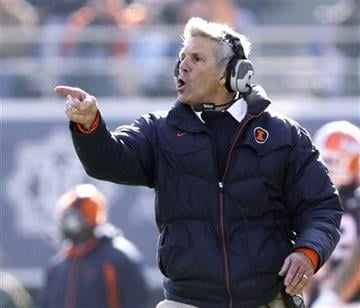 Illinois coach Ron Zook shouts from the sidelines while playing against Fresno State during the second half of an NCAA college football game in Champaign, Ill., Saturday, Dec 5, 2009. (AP Photo/Seth Perlman) By Seth Perlman