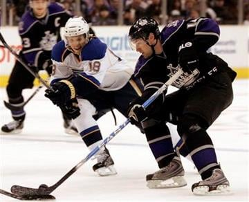 St. Louis Blues center Jay McClement (18) pressures Los Angeles Kings right wing Justin Williams (14) as he moves the puck in the second period of an NHL hockey game in Los Angeles on Saturday, Dec. 5, 2009.  (AP Photo/Jason Redmond) By Jason Redmond