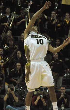 Michael Dixon fires the ball into the air as time runs out on Missouri's 106-69 win over Oregon at Mizzou Arena in Columbia, Saturday, Dec. 5, 2009. (Photo credit: JJ Stankevitz for KMOV.com) By JJ Stankevitz