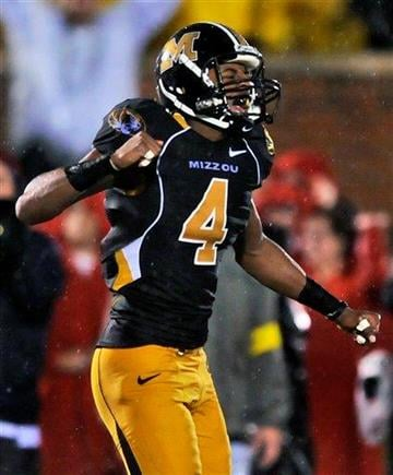 Missouri wide receiver Jared Perry celebrates after catching a pass for a 38-yard gain during the second quarter of an NCAA college football game against Nebraska on Thursday, Oct. 8, 2009, in Columbia, Mo. (AP Photo/L.G. Patterson) By L.G. Patterson
