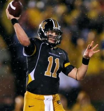 Missouri quarterback Blaine Gabbert throws during the first quarter of an NCAA college football game against Nebraska on Thursday, Oct. 8, 2009, in Columbia, Mo. (AP Photo/L.G. Patterson) By L.G. Patterson