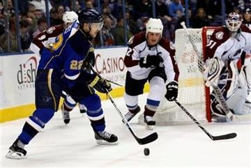 St. Louis Blues' Brad Boyes (22) tries to shoot the puck past Colorado Avalanche's Adam Foote (52) in the second period of an NHL hockey game, Monday, Dec. 7, 2009 in St. Louis.(AP Photo/Tom Gannam) By Tom Gannam
