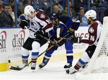 St. Louis Blues' Mike Weaver, center, battles Colorado Avalanche's Cody McLeod (55) and Darcy Tucker (16) for the loose puck in the first period of an NHL hockey game, Monday, Dec. 7, 2009 in St. Louis.(AP Photo/Tom Gannam) By Tom Gannam