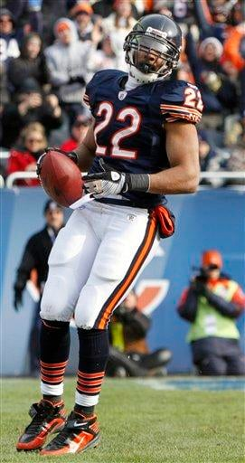 Chicago Bears running back Matt Forte (22) makes a touchdown during the first half of an NFL football game against the St. Louis Rams in Chicago, Sunday, Dec. 6, 2009. (AP Photo/Nam Y. Huh) By Nam Y. Huh