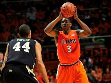 Illinois guard Brandon Paul (3) looks to pass over Vanderbilt forward Jeffery Taylor (44) during the first half of an NCAA college basketball game on Tuesday, Dec. 8, 2009, in Champaign, Ill. (AP Photo/Darrell Hoemann) By Darrell Hoemann