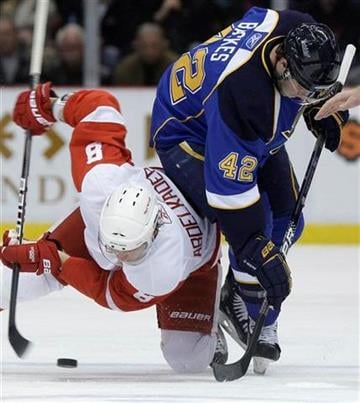 Detroit Red Wings Justin Abdelkader (8) and St. Louis Blues' David Backes, right, battle for the puck in the second period of an NHL hockey game in Detroit, Wednesday, Dec. 9, 2009. (AP Photo/Paul Sancya) By Paul Sancya