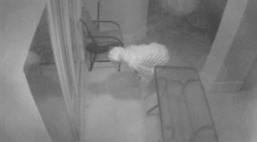 Security camera video of burglar outside Nelly's Wildwood home. By Bryce Moore