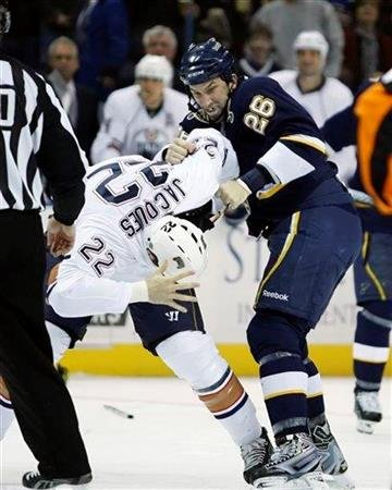 St. Louis Blues' B.J. Crombeen (26) fights with Edmonton Oilers' Jean-Francois Jacques (22) in the second period of an NHL hockey game, Friday, Dec. 11, 2009, in St. Louis.(AP Photo/Tom Gannam) By Tom Gannam