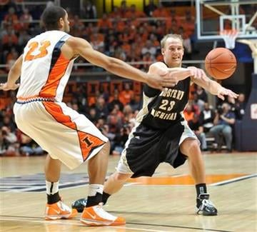 Western Michigan's David Kool (23) passes around Illinois' Dominique Keller (23) during their NCAA college basketball game in Champaign, Ill., on Sunday, Dec. 13, 2009. (AP Photo/Robin Scholz) By Robin Scholz