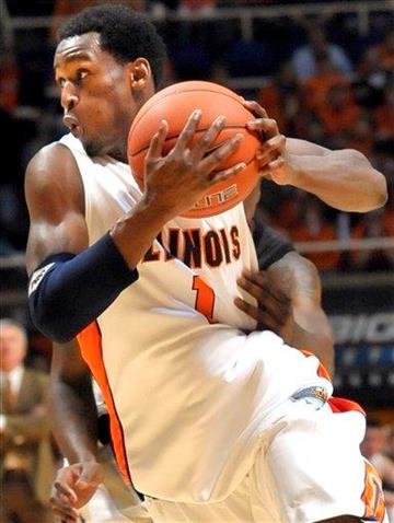 Illinois D. J. Richardson drives for the basket against Western Michigan during their NCAA college basketball game at the Assembly Hall in Champaign, Ill., on Sunday, Dec. 13, 2009. (AP Photo/Robin Scholz) By Robin Scholz