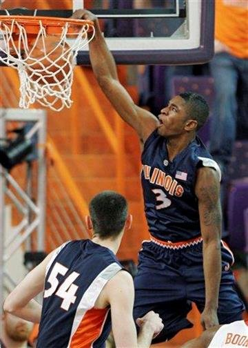 Illinois freshman guard Brandon Paul, right, dunks against Clemson during the first half of an NCAA college basketball game Wednesday, Dec. 2, 2009, at Littlejohn Colliseum, in Clemson, S.C.  (AP Photo/Brett Flashnick) By Brett Flashnick
