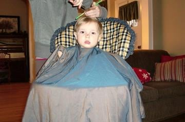 Jude during the haircut By Afton Spriggs