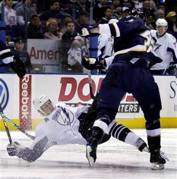 St. Louis Blues' David Backes, right, sends Tampa Bay Lightning's Vincent Lecavalier flying during the second period of an NHL hockey game Friday, Dec. 18, 2009, in St. Louis. (AP Photo/Jeff Roberson) By Jeff Roberson