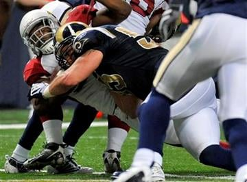 Arizona Cardinals running back Beanie Wells, left, scores on a one-yard run as St. Louis Rams linebacker James Laurinaitis defends during the second quarter of an NFL football game Sunday, Nov. 22, 2009, in St. Louis. (AP Photo/Jeff Curry) By Jeff Curry