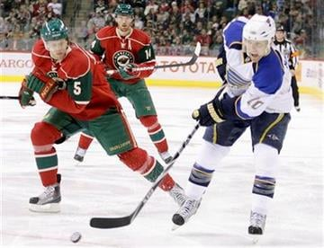 St. Louis Blues center Andy McDonald, right, controls the puck as Minnesota Wild defenseman Kim Johnsson, (5), of Sweden, skates up in the first period of their NHL hockey game in St. Paul, Minn., Saturday, Dec. 26, 2009. (AP Photo/Andy King) By Andy King