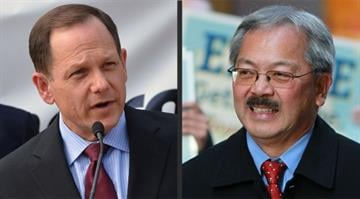 Mayor Francis Slay (left) and San Francisco Mayor Edwin Lee (right) are putting food, beer and Twitter avatars on the line in a mayoral wager on the Cardinals-Giants NLCS matchup. By Dan Mueller