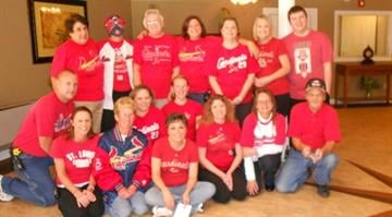 "Staff at Autumn Ridge Retirement Community in Herculaneum, Missouri support ""Red For Kids."" By Eric Lorenz"