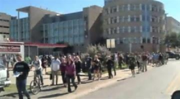 Students and staff evacuated the campus of Texas A&M University after someone phoned in a bomb threat. By Brendan Marks