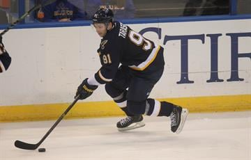 St. Louis Blues Vladimir Tarasenko of Russia brings the puck up ice in the third period against the Los Angeles Kings at the Scottrade Center in St. Louis on December 16, 2014.  St. Louis won the game 5-2.   UPI/Bill Greenblatt By BILL GREENBLATT