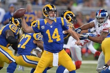 ST. LOUIS, MO - DECEMBER 21: Shaun Hill #14 of the St. Louis Rams passes against the New York Giants in the first quarter at the Edward Jones Dome on December 21, 2014 in St. Louis, Missouri. (Photo by Michael B. Thomas/Getty Images) By Michael B. Thomas