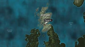 A map of Scotland with Glasgow highlighted. By Stephanie Baumer