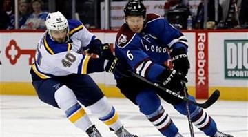 St. Louis Blues center Maxim Lapierre (40) and Colorado Avalanche defenseman Erik Johnson (6) go after the puck during the first period of an NHL hockey game Tuesday, Dec. 23, 2014, in Denver. (AP Photo/Jack Dempsey) By Jack Dempsey